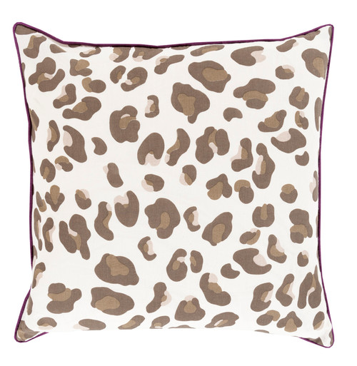 "18"" Black Coffee and Hazel Brown Leopard Print with Concord Grape Purple Decorative Trim Pillow - IMAGE 1"