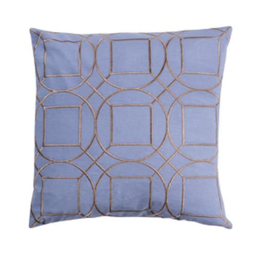 "18"" Indigo Blue and Gray Geometric Square Throw Pillow - IMAGE 1"