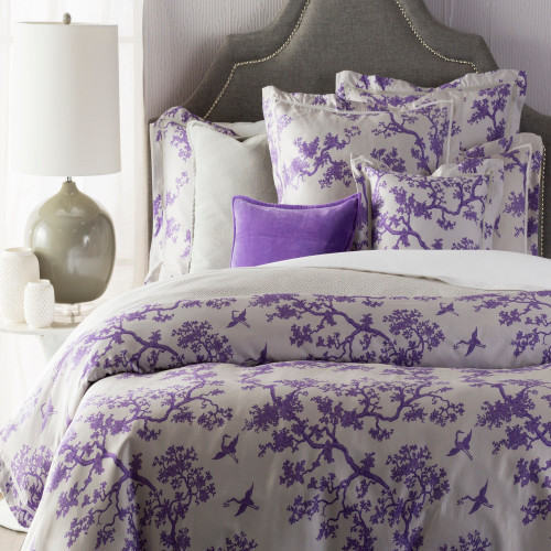 """86"""" Purple Bonsai and Flying Crane Twin Duvet Cover with Sham - IMAGE 1"""