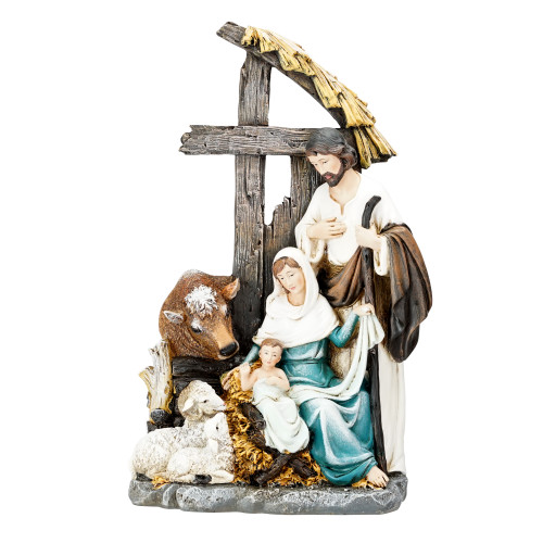 """11"""" Holy Family with Cross Stable Christmas Nativity Figurine - IMAGE 1"""