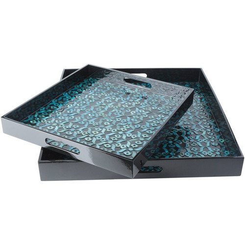 """Set of 2 Shiny Black and Teal Decorative Wood Square Serving Tray Set 16"""" - IMAGE 1"""
