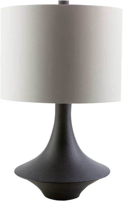 """23"""" White Sands Contemporary Raven Black Table Lamp with Matching White Drum Shade - IMAGE 1"""