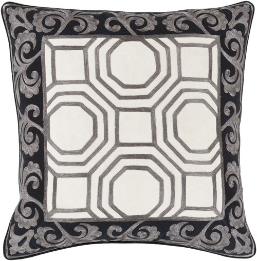 """18"""" Gray and White Geometric Square Throw Pillow - IMAGE 1"""