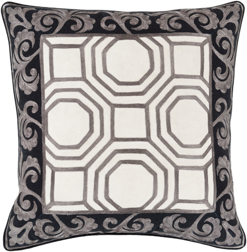"22"" Gray and White Geometric Square Throw Pillow - Down Filler - IMAGE 1"