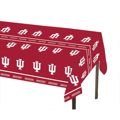 "Club Pack of 12 Red and White NCAA Indiana University Disposable Picnic Party Table Covers 108"" - IMAGE 1"