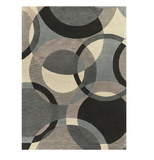 12' x 15' Senzei Spheres Gray and Black Hand Tufted Rectangular Wool Area Throw Rug - IMAGE 1