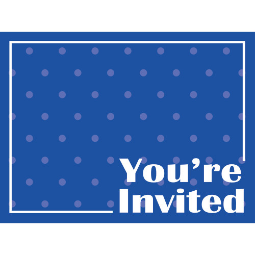 """Club Pack of 48 Cobalt Blue and White Polka Dots Postcard Party Invitations 6"""" - IMAGE 1"""