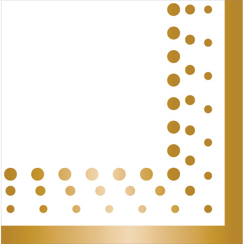 """Club Pack of 192 Gold and White Disposable Luncheon Napkins 6.5"""" - IMAGE 1"""