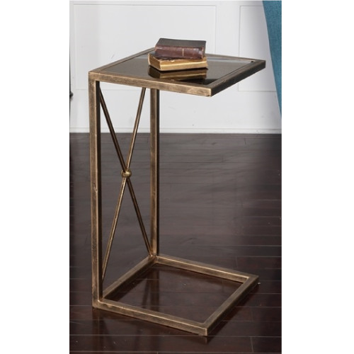"""25"""" Open Concept Antique Gold Metal and Black Glass Side Accent Table - IMAGE 1"""