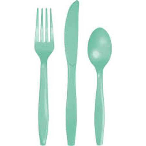 """Club Pack of 288 Fresh Mint Green Assorted Party Cutlery 7.5"""" - IMAGE 1"""