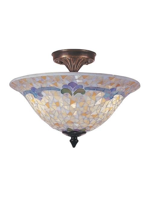 """13.25"""" Antique Brass Johana Glass Mosaic Flush Mount Ceiling Light Fixture - IMAGE 1"""