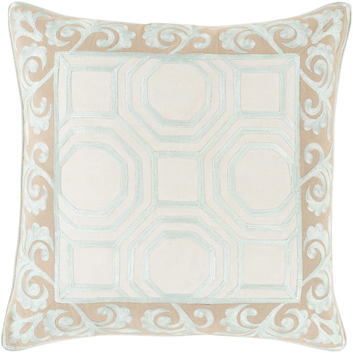 "20"" Beige and Ivory Geometric Square Throw Pillow - IMAGE 1"
