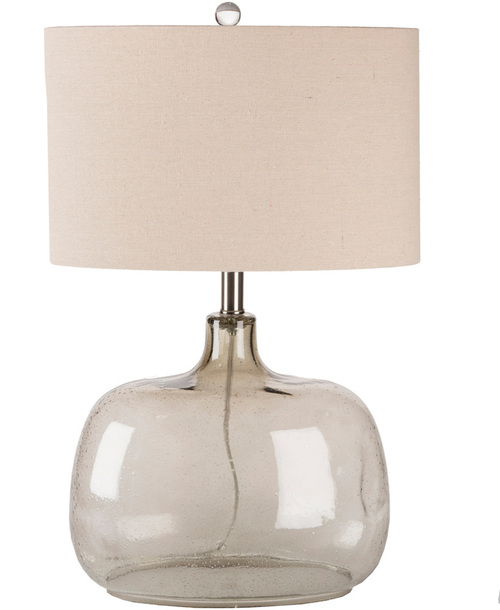 "24.5"" Smoked Glass Base with Ivory White Modified Drum Oval Shade Table Lamp - IMAGE 1"
