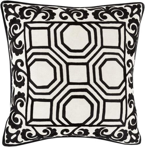 "20"" Coal Black and White Geometric Square Throw Pillow - Down Filler - IMAGE 1"