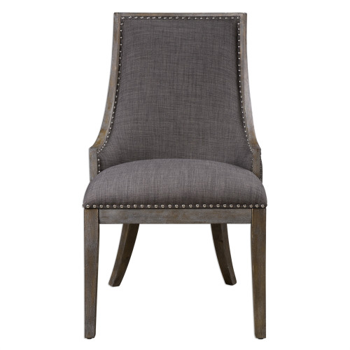 3.25' Gray and Silver Aidrian Curved Back Birch Wood Frame Accent Chair - IMAGE 1