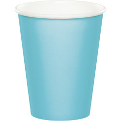 Club Pack of 192 Pastel Baby Blue Disposable Paper Drinking Party Tumbler Cups 9oz. - IMAGE 1