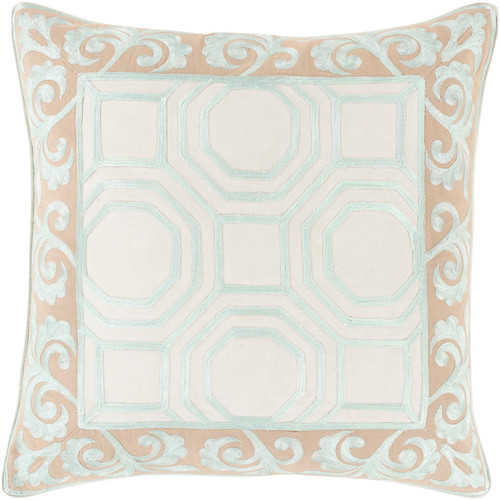 "18"" Beige and Ivory Geometric Square Throw Pillow - Down Filler - IMAGE 1"