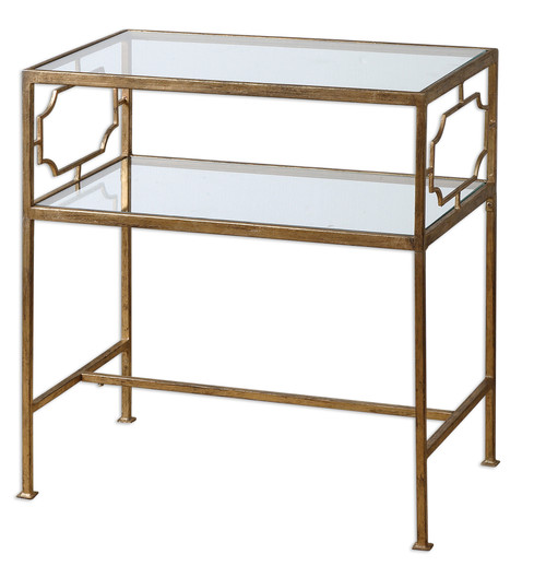 """26"""" Chanelle Antiqued Gold Leaf Iron & Clear Glass Rectangular Accent Side Table - IMAGE 1"""