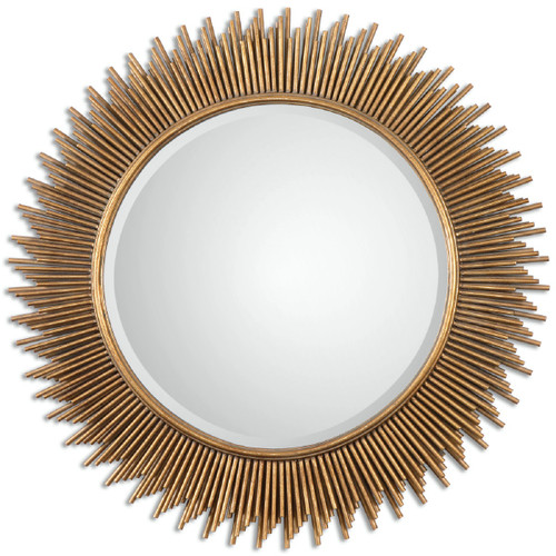 3' Gold Contemporary Style Round Beveled Wall Mirror - IMAGE 1