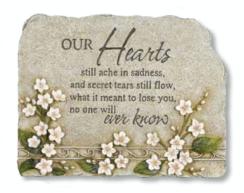 """10.5"""" Luminous Garden Religious """"Our Hearts"""" Memorial Stone with Floral Design - IMAGE 1"""