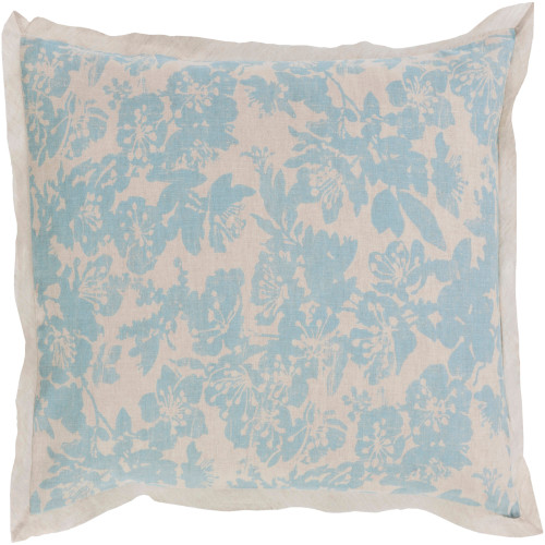 Alice Blue and Cloud Gray Elegant Blossom Dreams Linen Decorative King Sham - IMAGE 1