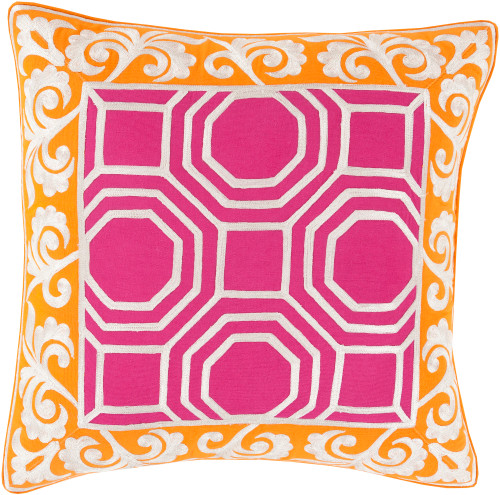 """22"""" Berry Pink and Carrot Orange Geometric Square Throw Pillow - Down Filler - IMAGE 1"""