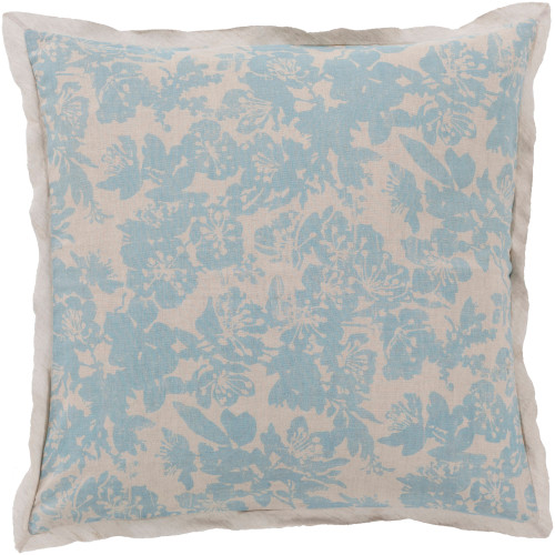 Alice Blue and Cloud Gray Elegant Blossom Dreams Linen Decorative Euro Sham - IMAGE 1