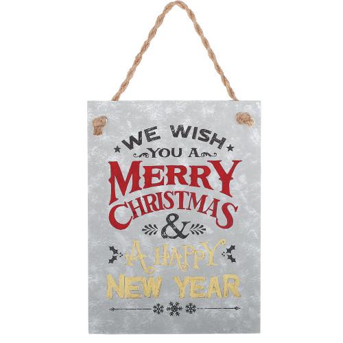 "7.5"" We Wish You a Merry Christmas Verse Metal Christmas Tree Ornament - IMAGE 1"