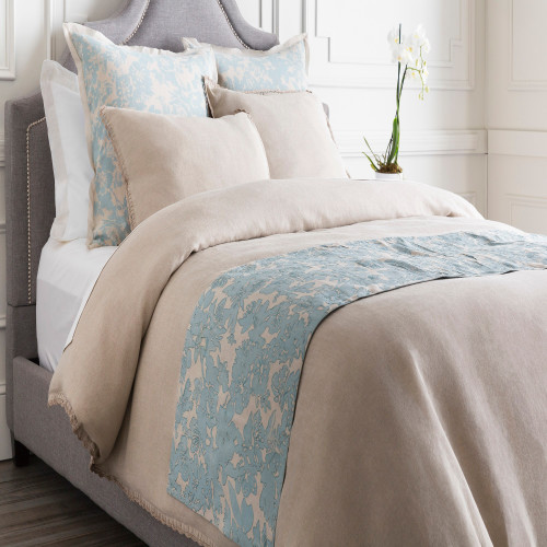 Alice Blue and Cloud Gray Elegant Blossom Dreams Linen Decorative Runner - IMAGE 1