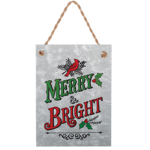"""7.5"""" Red and Green """"Merry and Bright"""" with Cardinal Christmas Tree Ornament - IMAGE 1"""