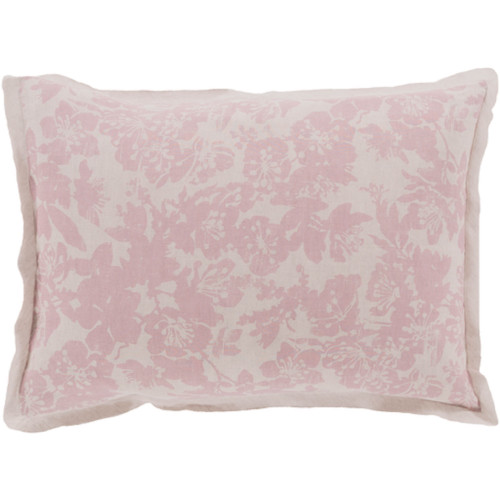 Dusty Rose Pink and Cool Gray Elegant Blossom Dreams Linen Decorative King Sham - IMAGE 1