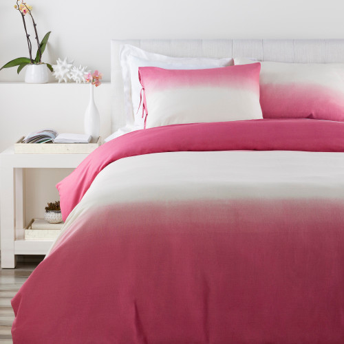 """Set of 3 Pink and Cream White Contemporary Ombre King Duvet Cover with Shams 108"""" - IMAGE 1"""
