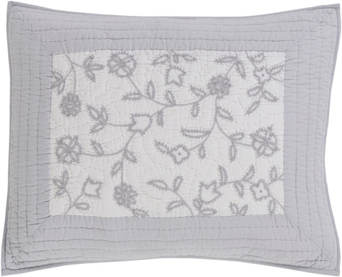 """26"""" Misty Gray and Pure White Embroidery Rectangular Throw Pillow - IMAGE 1"""