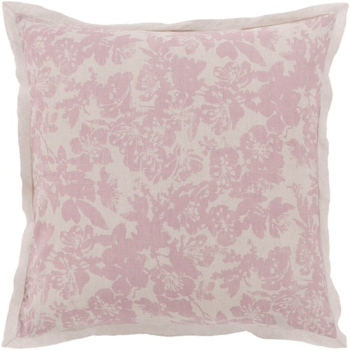 Dusty Rose Pink and Cool Gray Blossom Dreams Linen Decorative Euro Sham - IMAGE 1