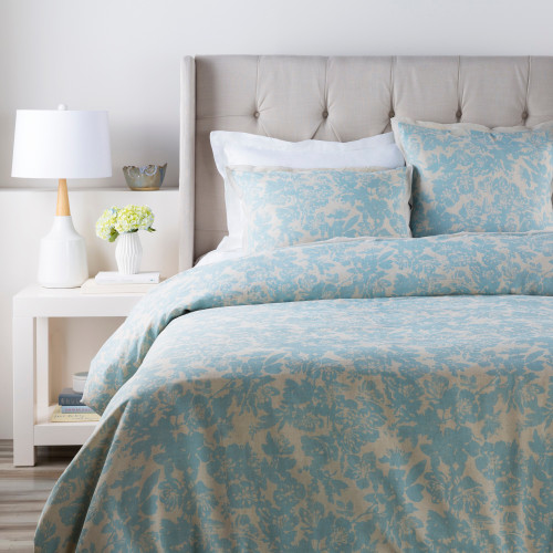 Alice Blue and Cloud Gray Elegant Blossom Dreams Linen Decorative Twin Duvet Set - IMAGE 1