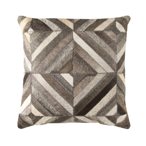 "18"" Brown and Gray Contemporary Square Throw Pillow - Down Filler - IMAGE 1"