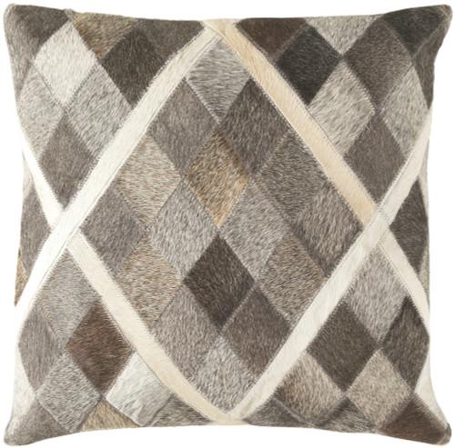 "18"" Horizon Gray and Cedar Brown Contemporary Square Throw Pillow - Down Filler - IMAGE 1"