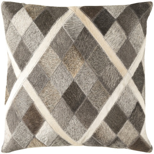 """18"""" Gray and Brown Contemporary Square Throw Pillow - IMAGE 1"""