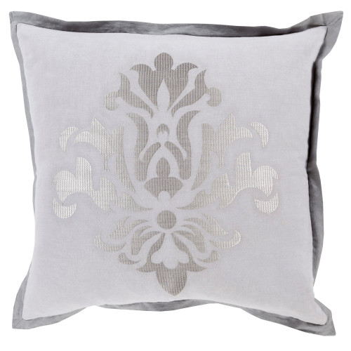 """22"""" Dazzling Damask in Shades of Cool and Charcoal Gray Decorative Throw Pillow - Down Filler - IMAGE 1"""