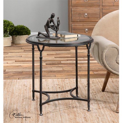 """25"""" Samson Black Steel with Silver Metal Undertones Clear Glass Side Table - IMAGE 1"""