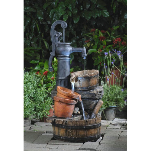 """33.1"""" LED Lighted Water Pump and Clay Pot Outdoor Patio Garden Water Fountain - IMAGE 1"""