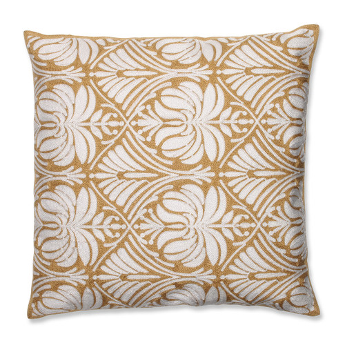 """18"""" Contemporary Gold Damask Embroidered Decorative Throw Pillow - IMAGE 1"""