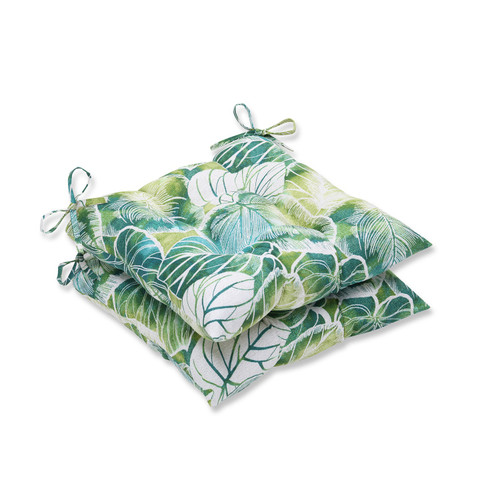 """Set of 2 Green and Blue Tropical Outdoor Patio Seat Cushions with Ties 19"""" - IMAGE 1"""