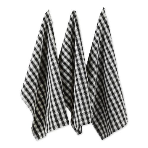 "Set of 4 Black and White Gingham Patterned Rectangular Dish Towels 28"" - IMAGE 1"