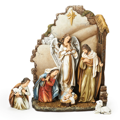 7-Piece Brown Joseph's Studio Nativity with Back Wall Christmas Table Top Decoration 12 - IMAGE 1