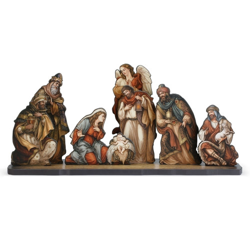 """8pc Orange and Brown Nativity Die Cut Figures with Base Christmas Decoration 24"""" - IMAGE 1"""