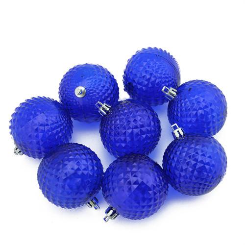 "8ct Lavish Blue Shatterproof Transparent Christmas Ball Ornaments 2.5"" (60mm) - IMAGE 1"