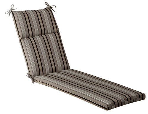 """72.5"""" Gray and Black Striped Outdoor Patio Furniture Chaise Lounge Cushion - IMAGE 1"""