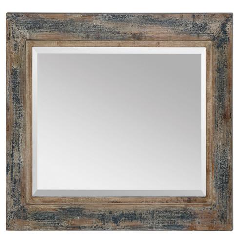3' Rustically Distressed Slate Blue Framed Beveled Rectangular Wall Mirror - IMAGE 1
