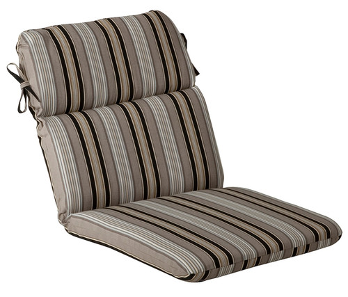 Outdoor Patio Furniture High Back Chair Cushion - Black and Tan Striped Voyage - IMAGE 1
